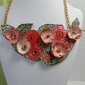 Painted Leather and Paper Posey Necklace