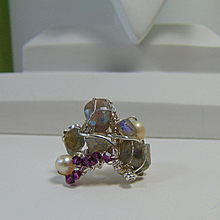 Sterling Silver Sculpted Ring w Labradorite Cultured Freshwater Pearls n Swarovski Crystals