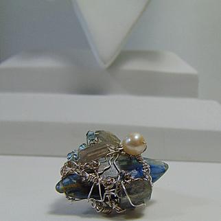 Sterling Silver Wire Wrapped Kyanite n Labradorite Ring w Cultured Freshwater Pearl n Swarovski Crystals