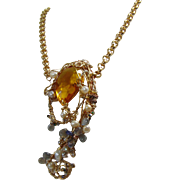 Mixed Media Amber Crystal w Labradorite n Cultured Freshwater Pearls