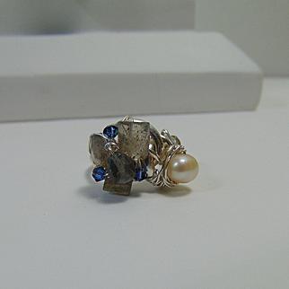 Sterling Silver Ring w Cultured Freshwater Pearl, Labradorite n Swarovski Crystals