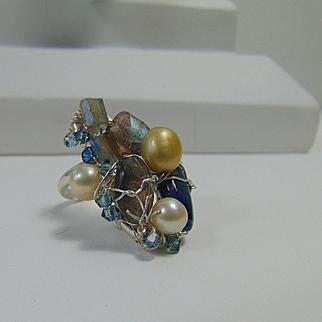 Sterling Silver Ring w Kyanite, Labradorite, Cultured Freshwater Pearls and Swarovski Crystals