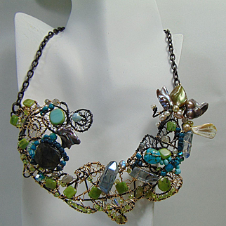 Annealed Steel and 14KGF Sculpted Necklace w Labradorite, Peridot, Nephrite Jade, Cultured Freshwater Pearls n More.