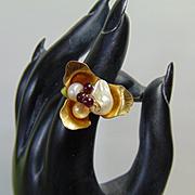 Brass n 14KGF Flower Ring w Cultured Freshwater Pearls n Garnets