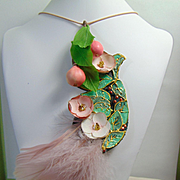 Painted Leather Feather Paper and Pears Necklace