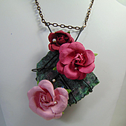 Paper Roses, Swarovski and Abalone on Ruby in Zoisite Pendant Necklace