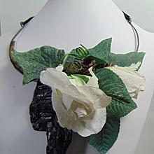 Rock, Paper Flowers n Annealed Steel Necklace