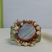 Mixed Media Cuff w Agate, Cultured Freshwater Pearls, Rhinestones, Swarovski and Labradorite