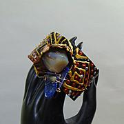Brutilist Mixed Media Cuff w Lapis Lazuli n Agate