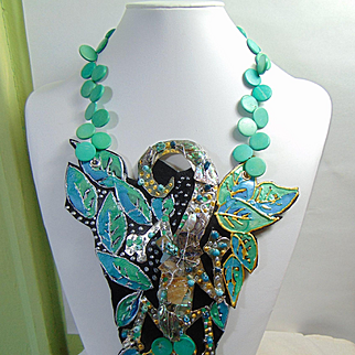 Metal n Leather Painted Lizard Necklace