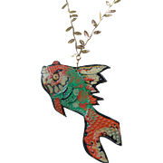 Painted Leather Fish Pendant Necklace