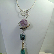 Modernist Sterling Silver Necklace w Raw Amethyst n Green Agate