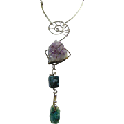 Modernist Sterling Silver Necklace w Raw Amethyst n Green Agate