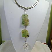 Sterling Silver Brutilist Y Necklace w Prasiolite n Quartz Crystal
