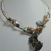 Abalone and Cultured Freshwater Pearls on Sterling Silver and 14KGF Choker