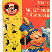 Vintage 78 Record Official Mickey Mouse Club Songs
