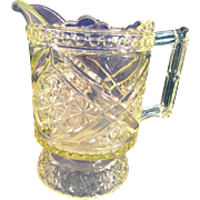 "Early American Pattern Glass  Richards & Hartley 1885 Vaseline Glass Daisy& Button w/ Crossbars 7"" Pitcher"