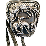 SSI Crafted USA Bolo Tie  man on Horse and feather