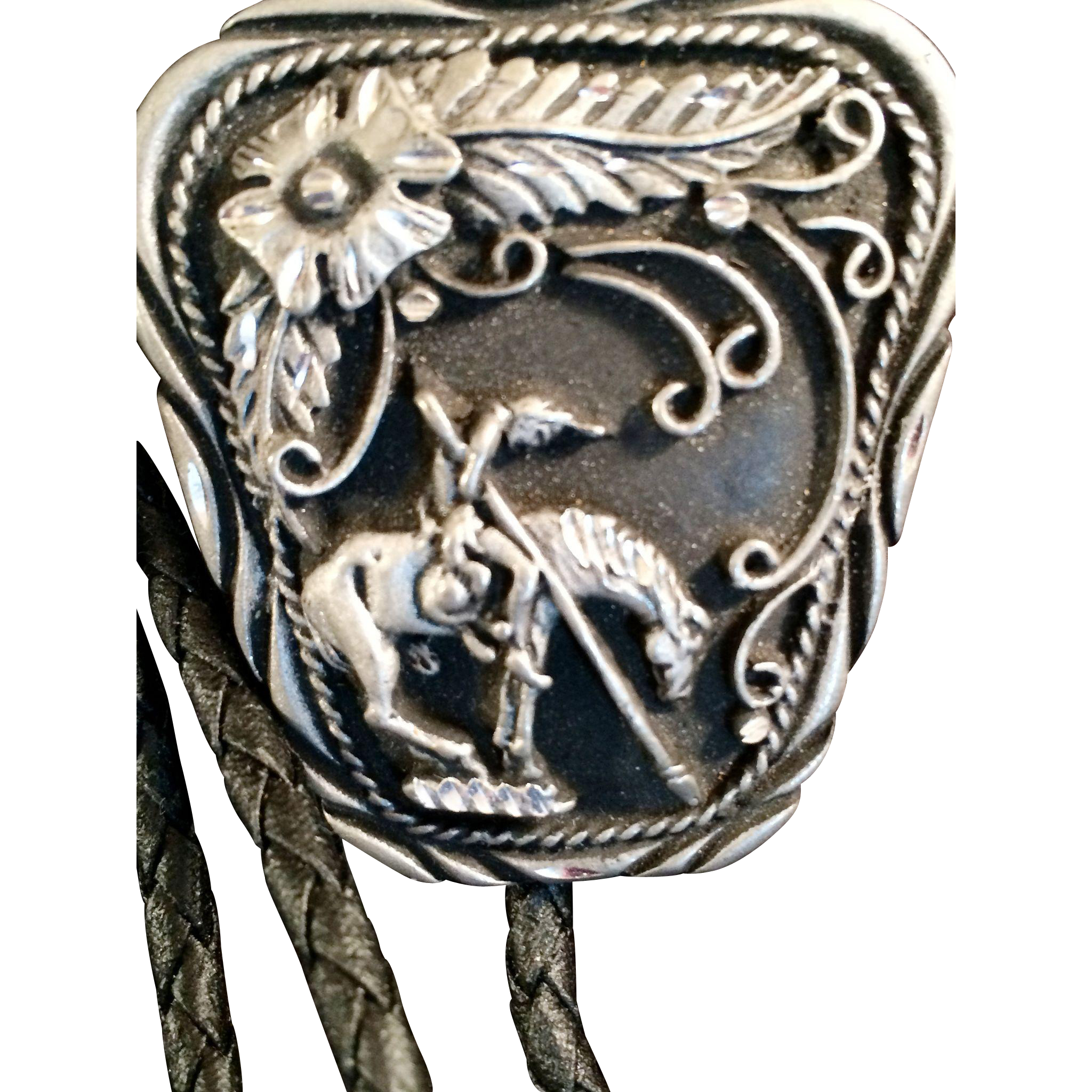 Bolo Tie by SSI Crafted USA  man on Horse with a Feather