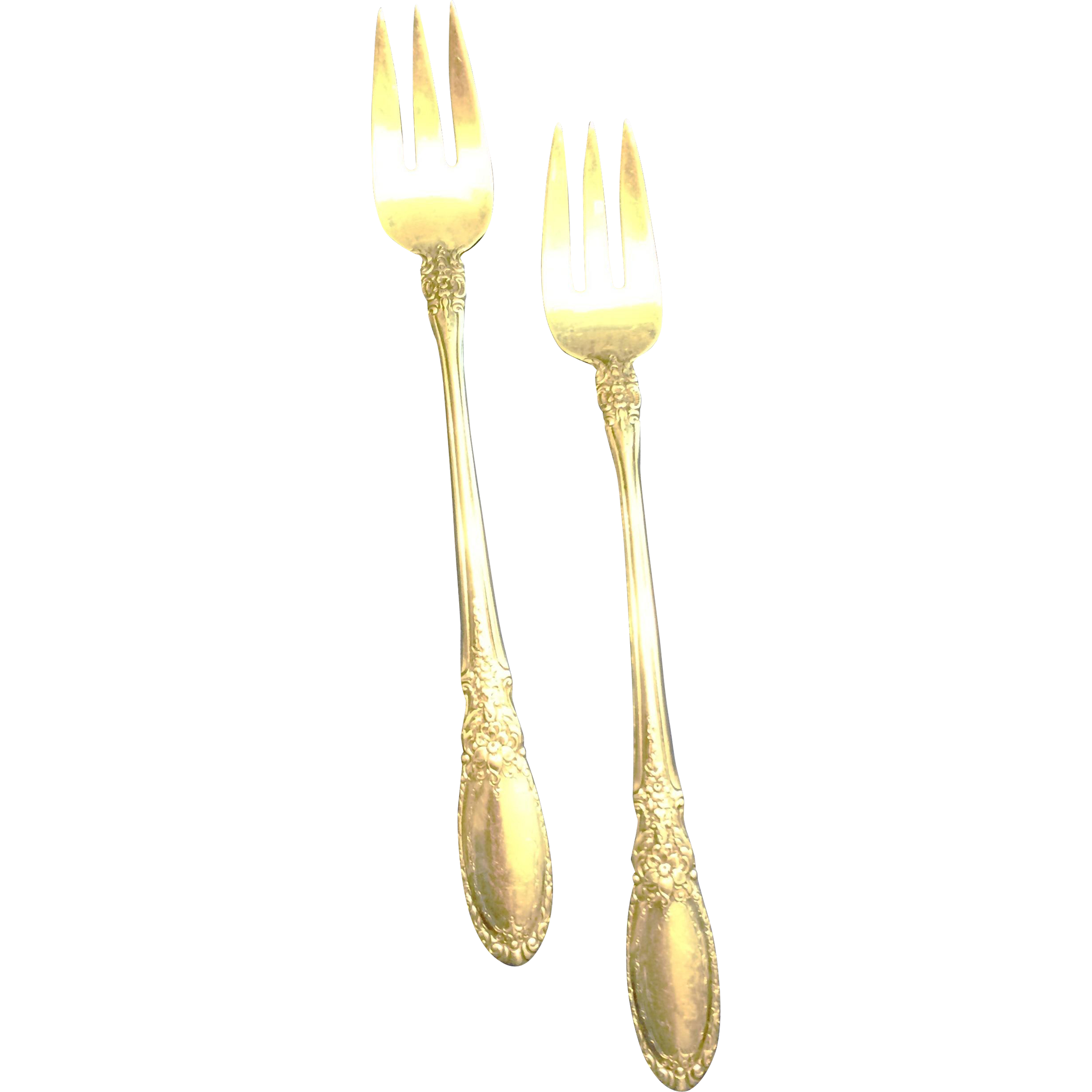 2 Towle Sterling Cocktail Seafood Forks in the Old Mirror pattern