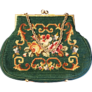 1950s Handmade Needlepoint Handbag Purse Green with roses