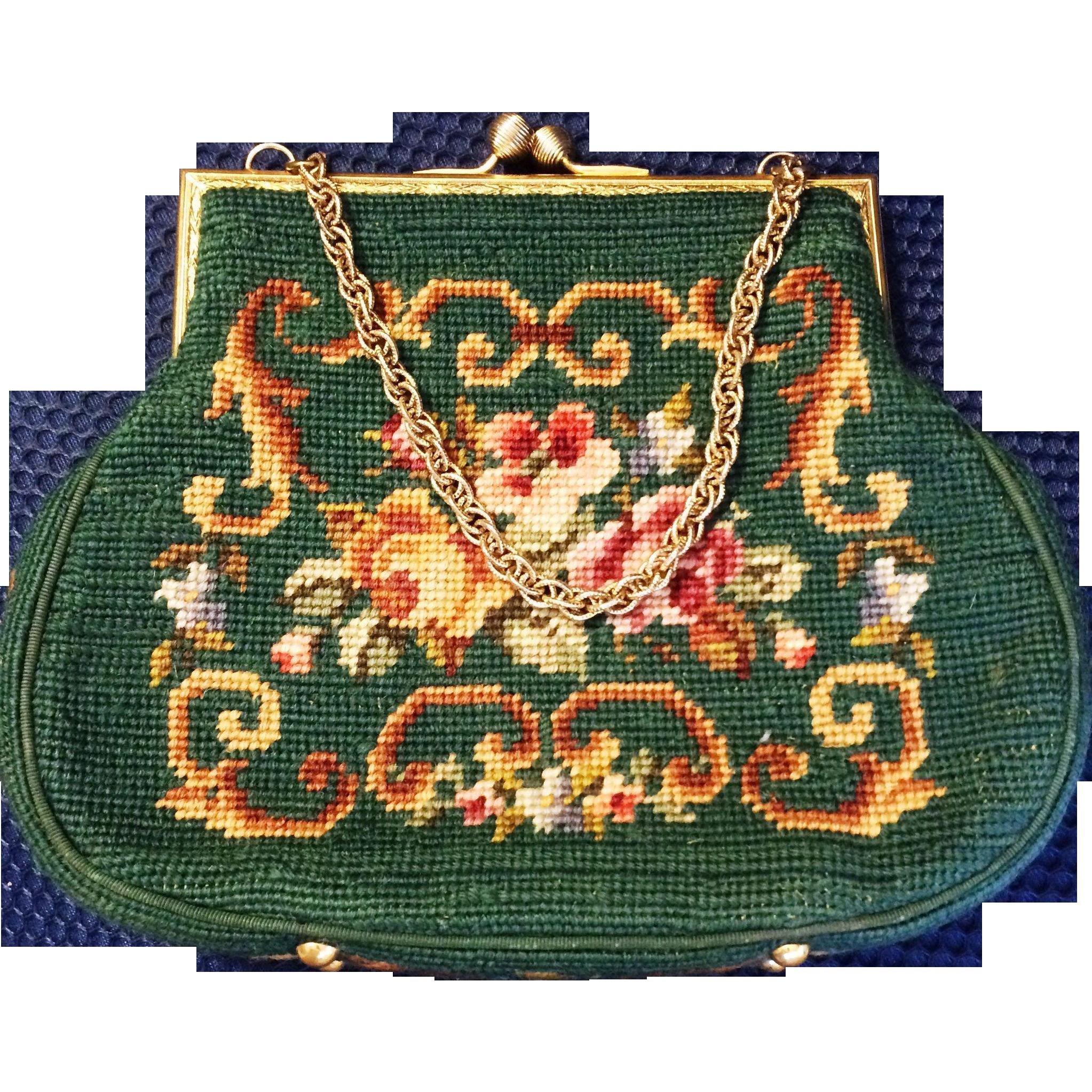 1950s Handmade Needlepoint Handbag Purse Green with roses