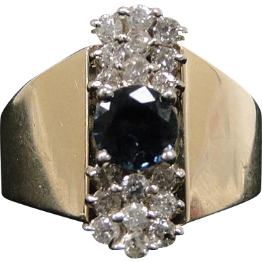 Vintage 1 Carat Blue Saphire, Diamond, and 14k Yellow Gold Size 10 Ring