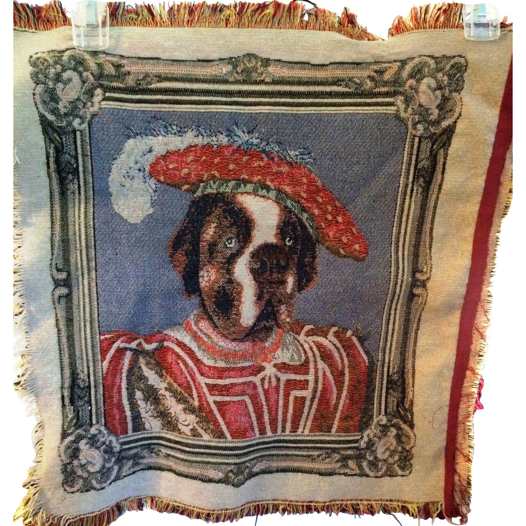 Vintage Tapestry Regal Dog in Royal costume attire pillow top