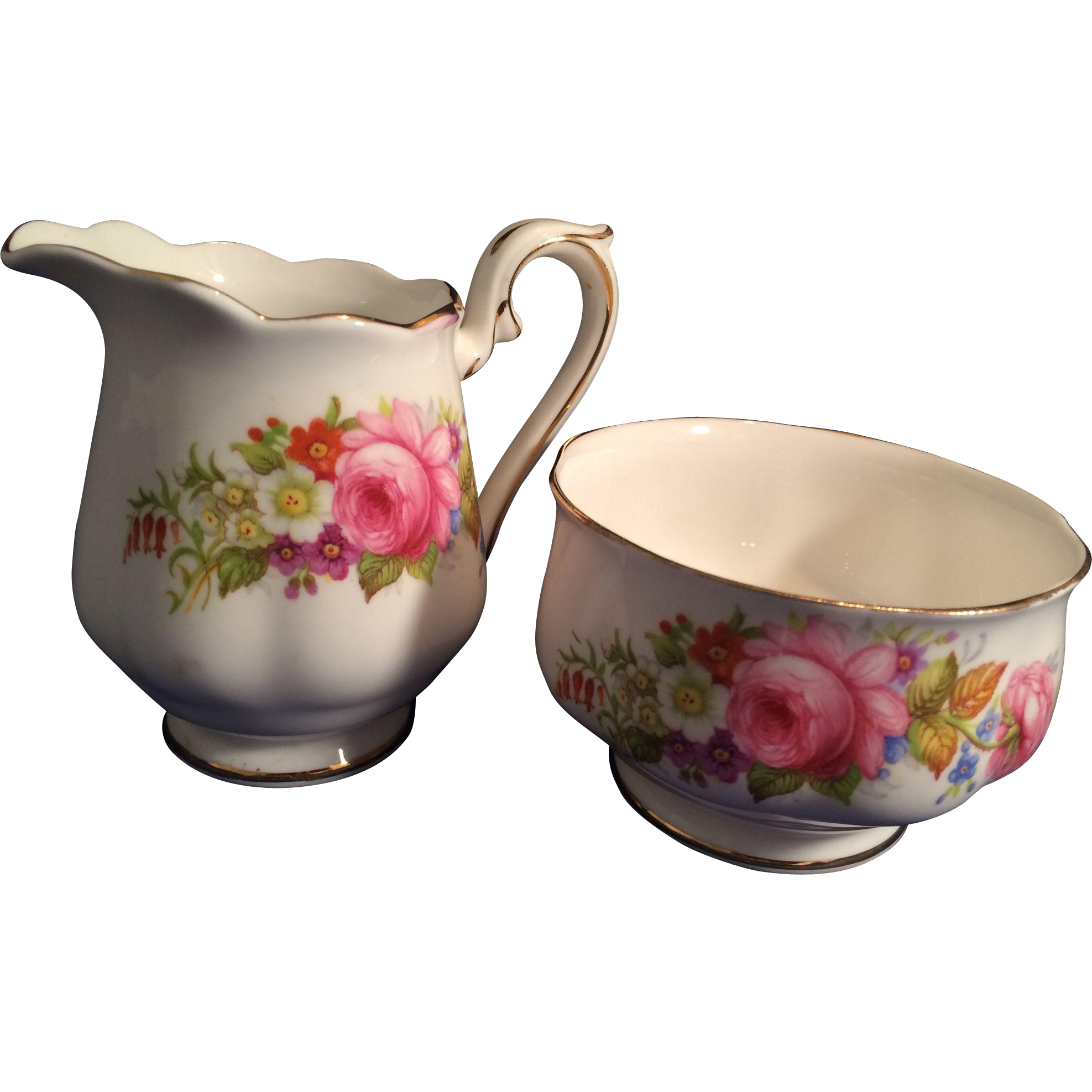 Royal Albert English Porcelain individual Cream and Sugar floral pattern