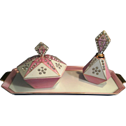 Vintage 1956 George Lefton Pottery 3 piece Dresser set Pink and White with sparkly Rhinestones