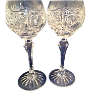Pair of ornately cut Crystal tall Red Wine Hock Glasses