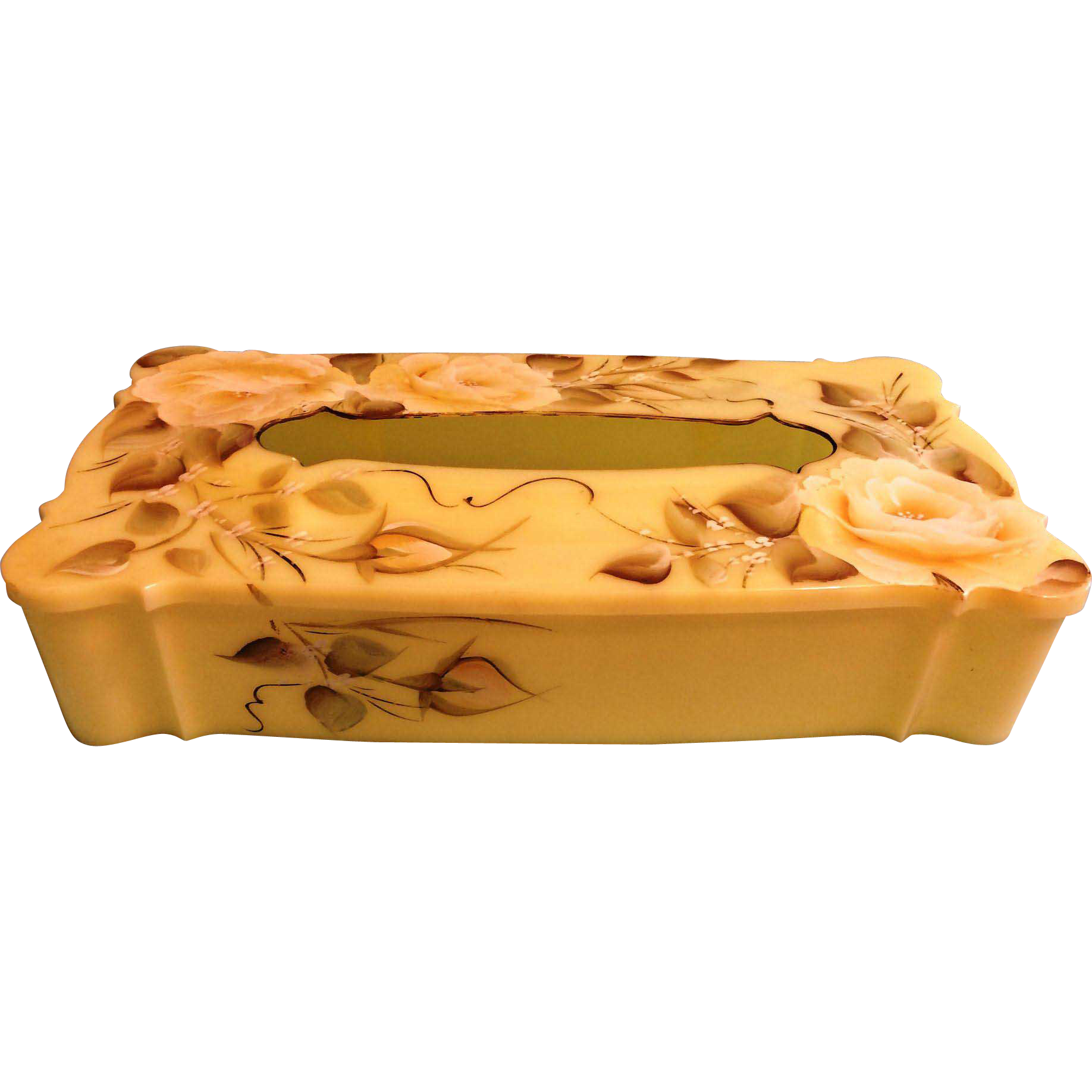 Yellow Schwarz Bros Plastics Kleenex Tissue box  painted Roses and leaves