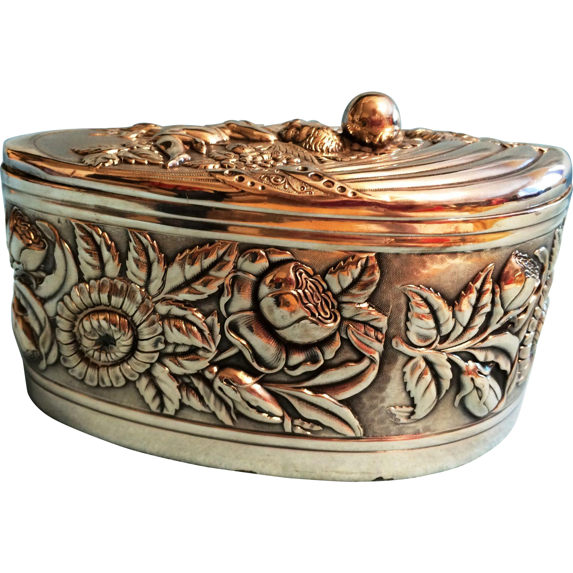 Antique Derby Silver Co trinket dresser box repousse flowers with Angel on lid