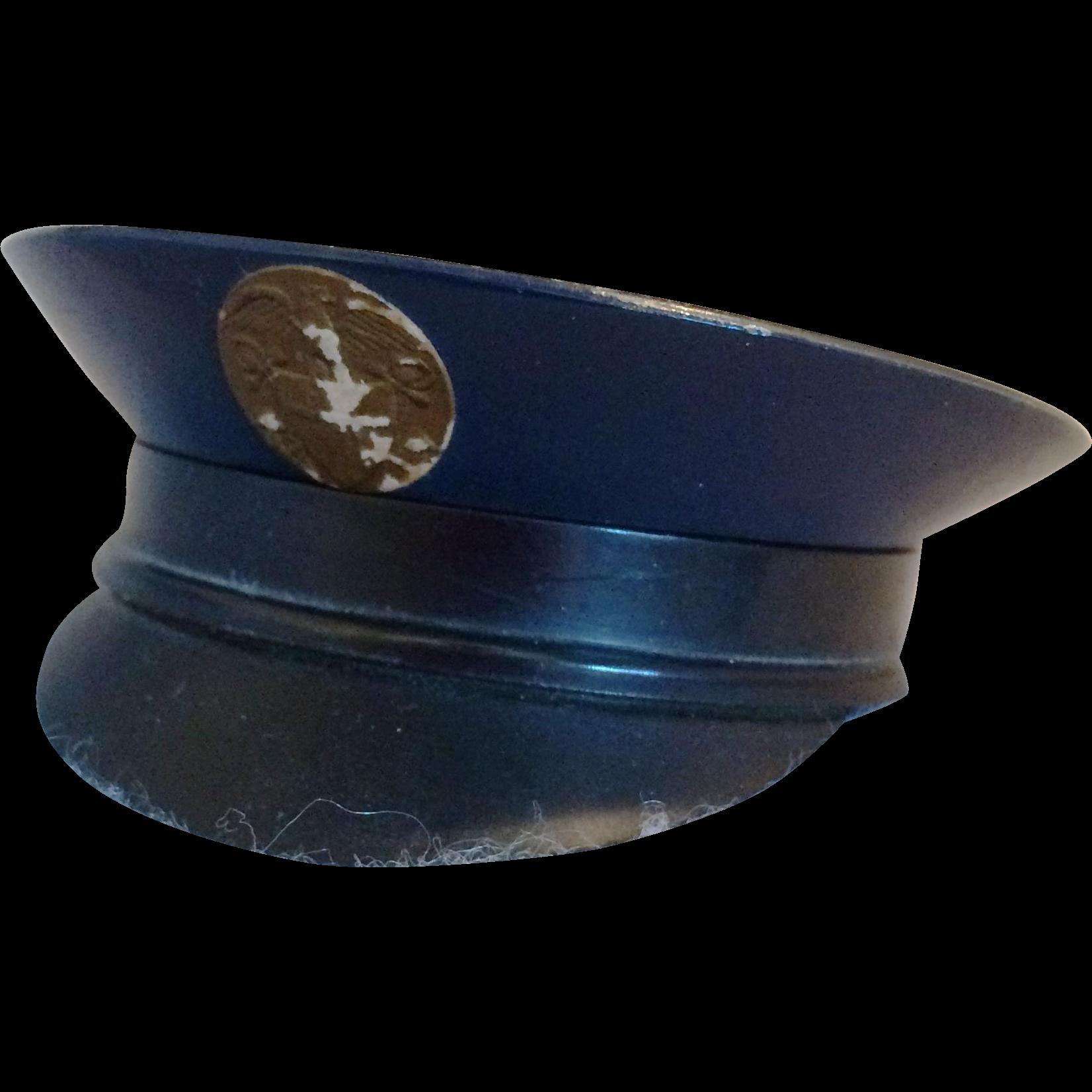 Vintage 1940 S Wwii Black Military Cap Hat Ladies Powder