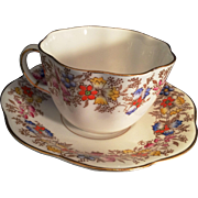 Taylor Kent England Longton Bone china Cup and Saucer Lomond  floral pattern