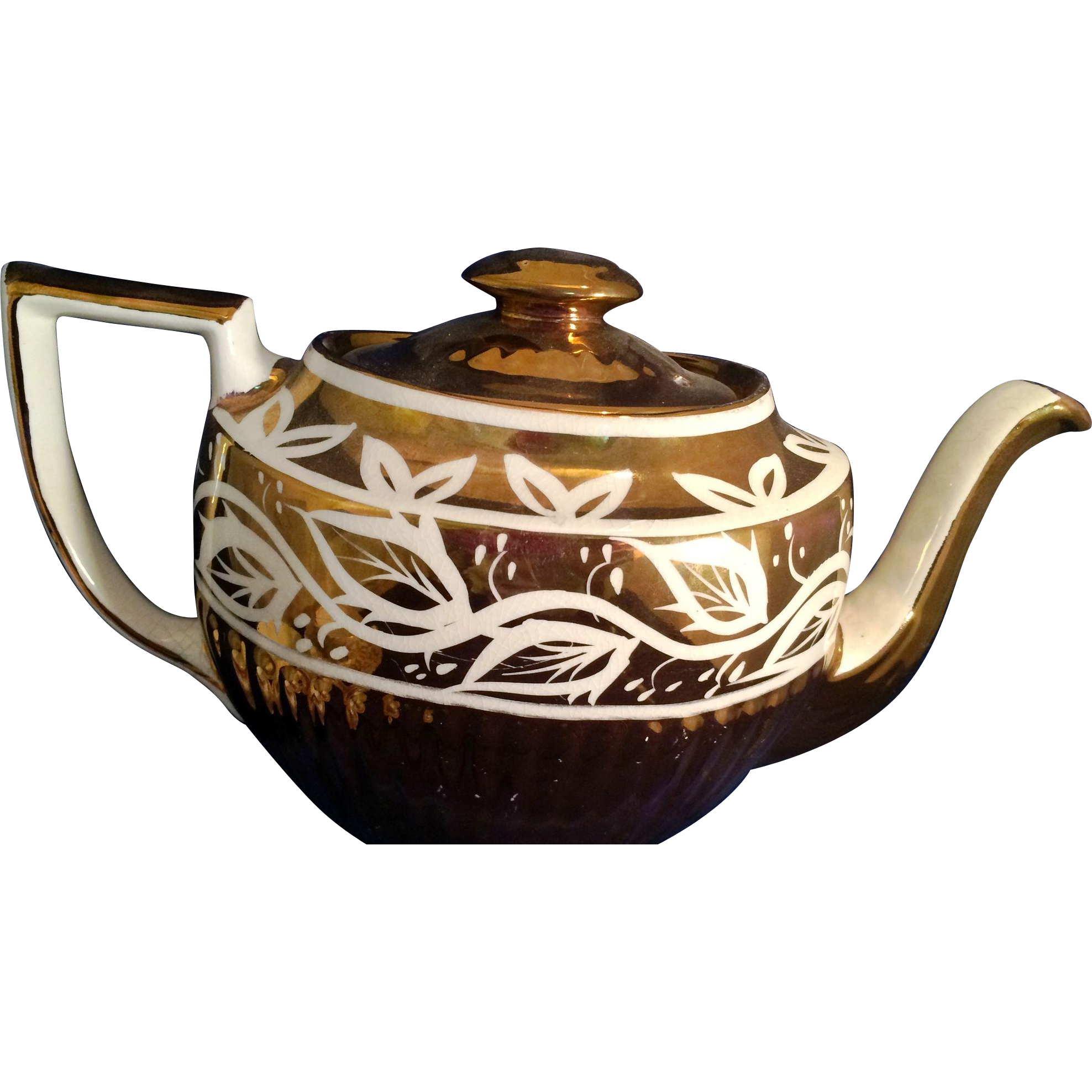1940's Teapot Arthur Wood England Queen Ann gold luster teapot