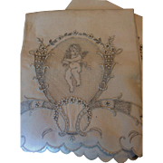 2 Antique Appenzell Linen tea Towels Figural Angel on Buratto work background ornate embroidery