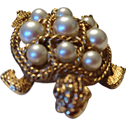 Vintage Boucher faux pearl Turtle Pin Brooch