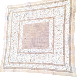 """Lovely vintage Drawn Thread Open Work Linen Tablecloth 23"""" Square"""