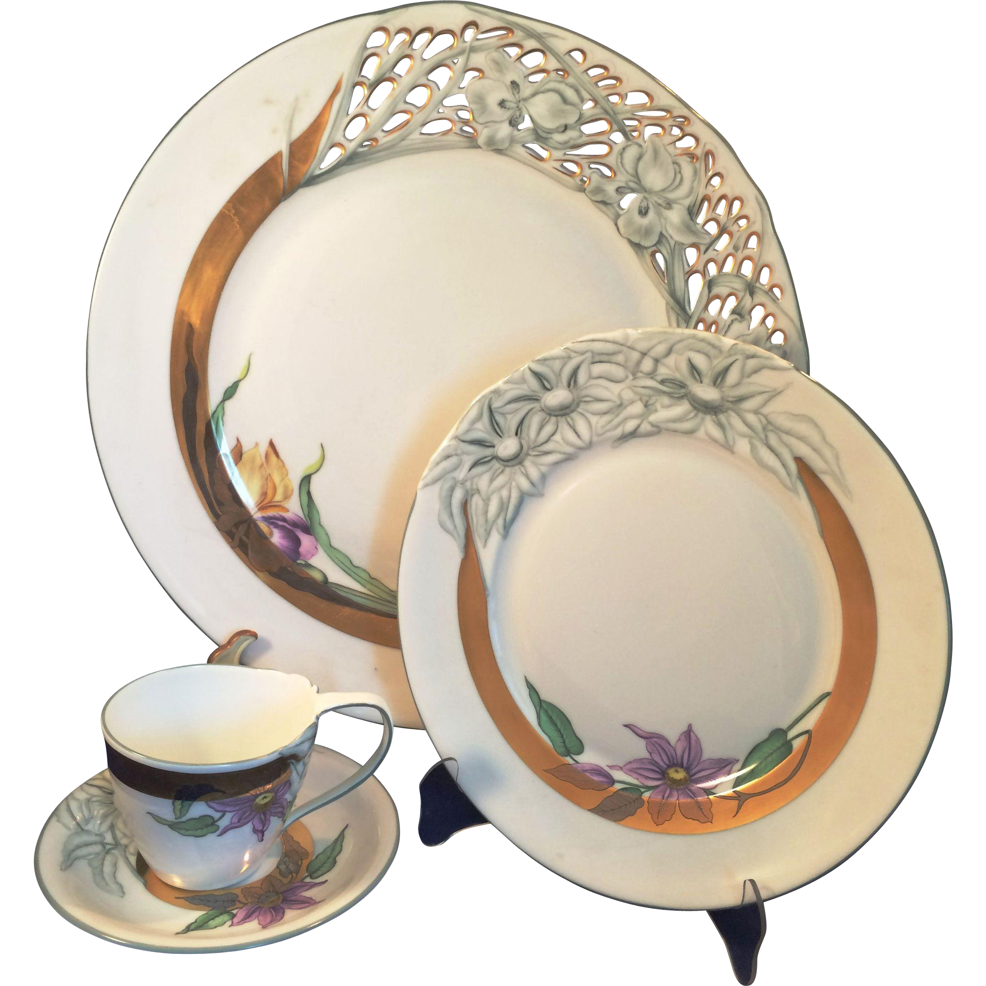 Herend Hungary Rare 4 piece set Romance Rete floral and openwork China special order