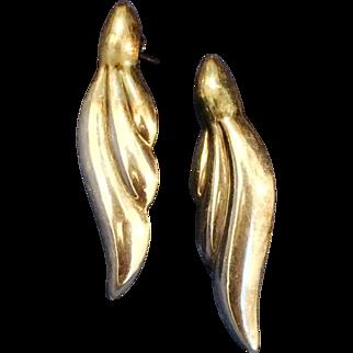 Pair of Sterling leaf shape pierced earrings signed N.D.