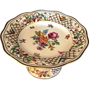 "Antique Schumann Dresden Bavaria ""Chateau Dresden"" footed Cake, Candy Cookie dish openwork rim"