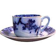 Portuguese ceramic  flow blue demitasse cup and saucer