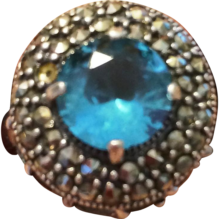 Vintage Sterling Silver Marcasite and blue Topaz ring size 6