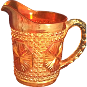 Imperial Marigold Carnival glass Star Medallion Milk pitcher 6""