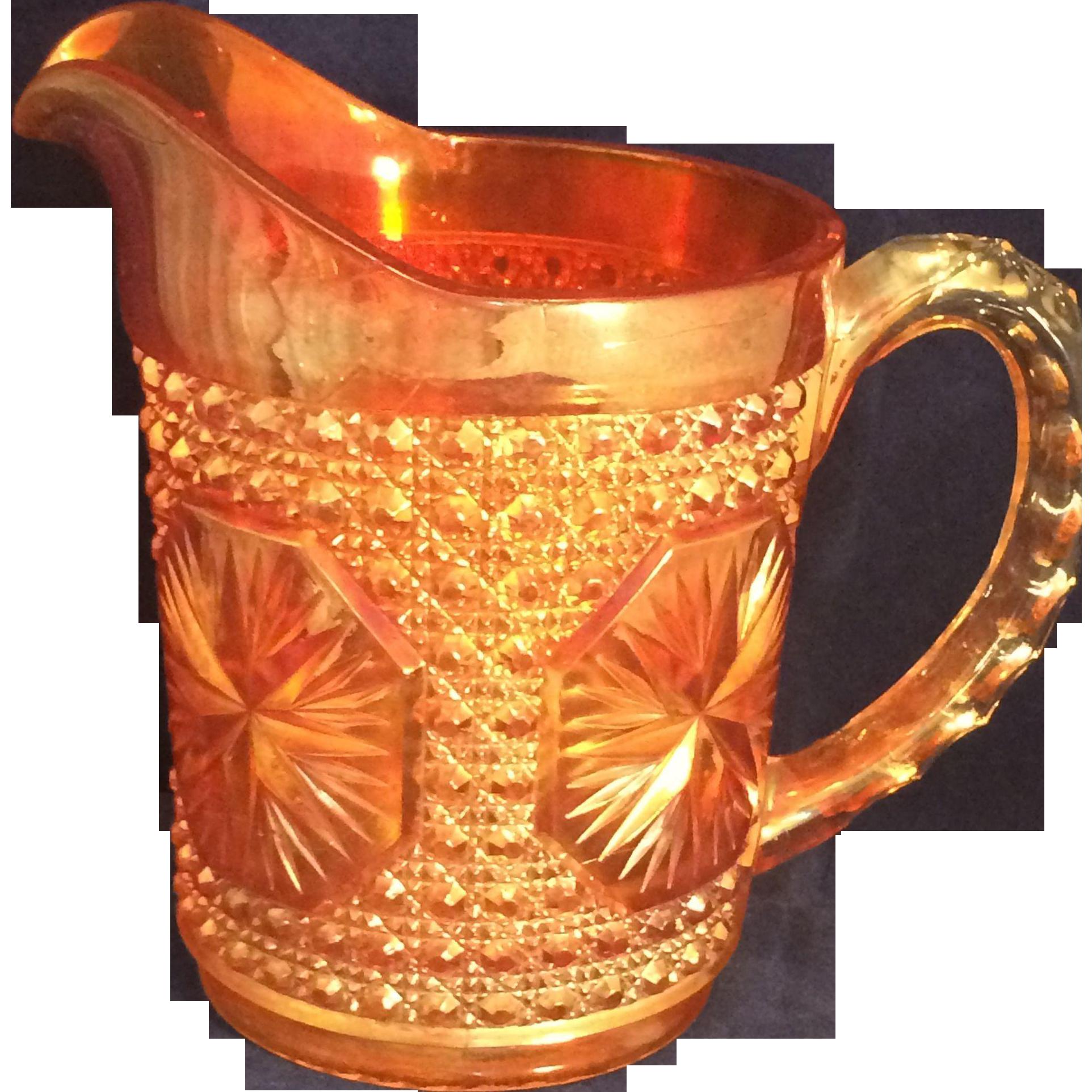 "Imperial Marigold Carnival glass Star Medallion Milk pitcher 6"""