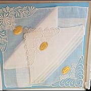3 Swiss linen and Lace Wedding Hankies in original box