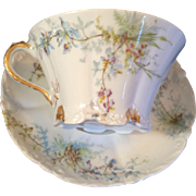 Theodore Haviland Limoges France Cup & Saucer Blue flowers