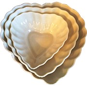 Irish Belleek Heart Shaped Nesting Candy Nut Bowls