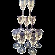 10 Crystal Sherry glasses with pretty Leaf cutting